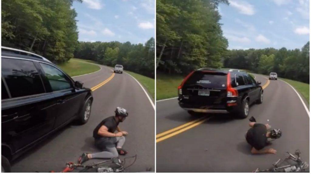 vehiculo tirando a un ciclista